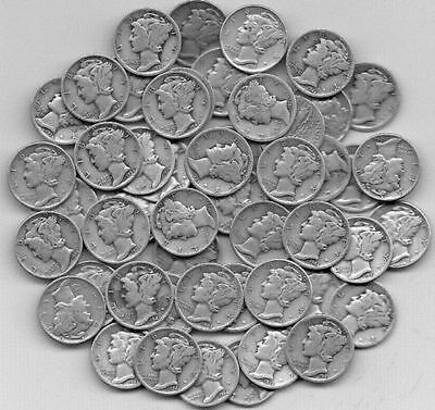 50 coin asst  Mercury Dimes Good to AU Lots of variety - Silver