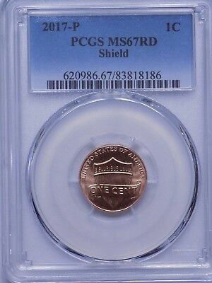 2017-P Lincoln Shield Cent, PCGS MS67 RED, VERY NICE!!