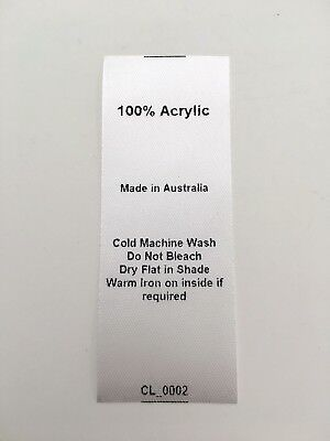 CL_0002 Care/Wash Instruction Clothing Labels - 100% Acrylic