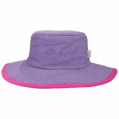 Girls Bucket Hat Wide Brim Terry Towelling Sun Protection Size 2,3,4,5,6,7purple