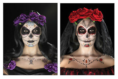 Day Of The Dead Sugar Skull Face Tattoo Transfer Kit Halloween Make Up