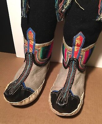 Genuine Tibetan Ceremonial Tradition Wool & Leather Boots Shoes