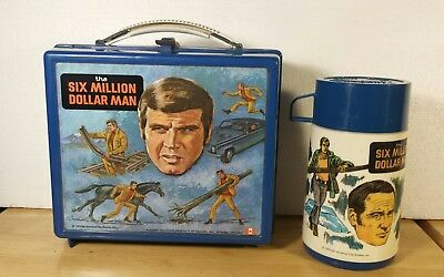 RARE 1974 Six Million Dollar Man Lunchbox & Thermos complete