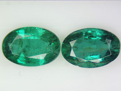 0.94 Ct 2 Pc Natural Zambian Emerald Pair Green Oval Cut 6 X 4Mm Certified Loose