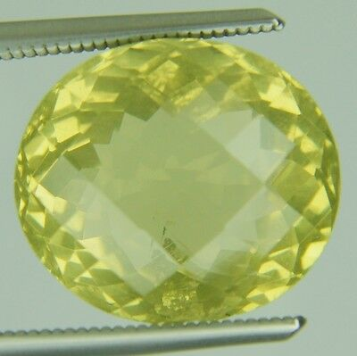 7.71 Ct Natural Lemon Quartz Loose Gems Oval Checker Cut 11.7 X13.4 Mm Certified