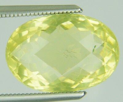 6.43 Ct Natural Lemon Quartz Loose Gems Oval Checker Cut 9.59 X13.8 Mm Certified