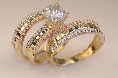 Trio Wedding Ring Set Yellow Gold Round Diamond Engagement His/Her Bridal Band