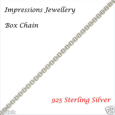 925 Sterling Silver 0.85 mm Box Chain Genuine Sterling Silver