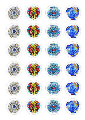 24 Beyblade Burst 4cm round cupcake edible images toppers