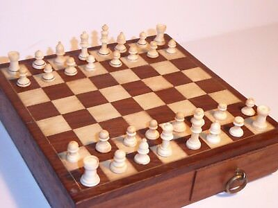Miniature Vintage Chess Set Carved from Bone. c1920s