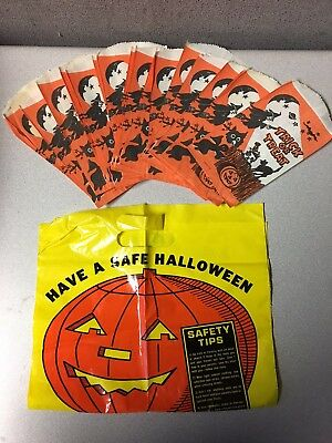 Vintage Halloween Lot Of Trick Or Treat Candy Bags Spooky Witch Black Cat Bats