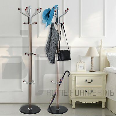 Metal Coat Clothes Hat Umbrella Bag Stand Rack Hanger Hooks Solid Base Champage