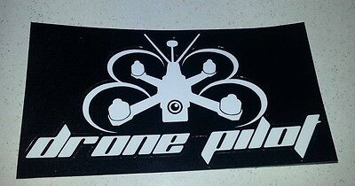 NEW BLACK! DRONE PILOT Quadcopter Racing FPV Sticker Decal - Medium 150mm wide