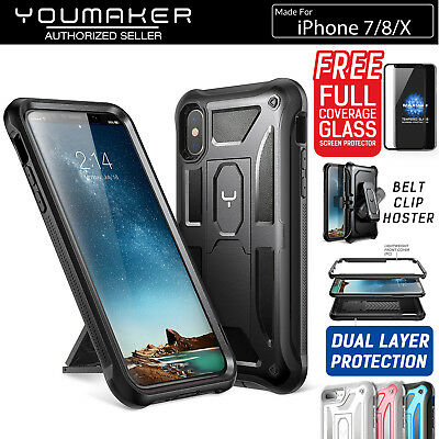 iPhone X Xs 8/7 7/8 Plus Case Cover, YOUMAKER HEAVY DUTY Shockproof Kickstand