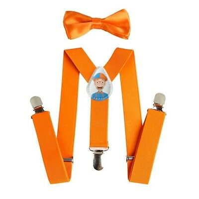 Suspenders and Bow Tie for Children Babies Blippi Kids Orange Adjustable Clip On