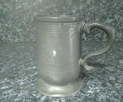 Antique type pewter type 1/2 pint tankard