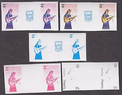 TUVALU 75th ANNIVERSARY OF GIRL GUIDE MOVEMENT MUSICAL 5 IMPERF PROG PROOF PAIRS