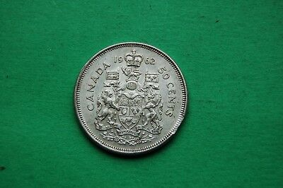 1962 Fifty Cent (50c) Elizabeth II Canadian Silver Coin.
