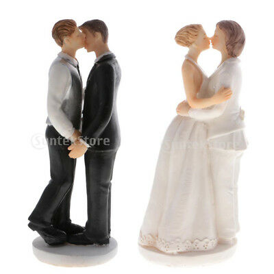 Gay Lesbian Resin Figurines Partner Wedding Cake Topper Gay Kiss Marriage Favors