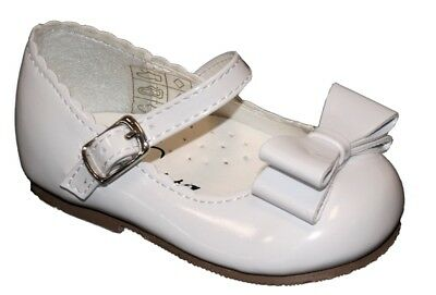 Baby Toddler Infant Girl Spanish White Patent Mary Jane Bow Walking Party Shoes