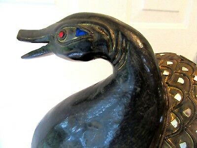 Rare Antique Asian Carved Wood Sculpture Architectural Duck Figure Victorian