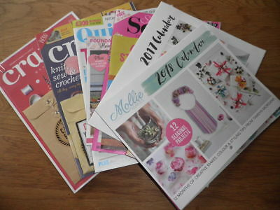 Craft magazines, some with freebies still attached, Crafty, Quilt Now, Sewing
