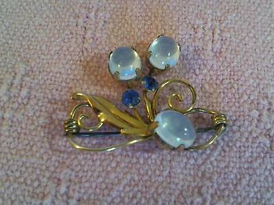 "Van Dell 12K Gold Filled Pin With Moonstones & 2 Blue Gems / Crystals 1 1/2"" Acr"