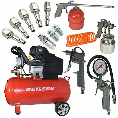 Air Compressor Tool 2HP 50L Tank Portable 5pc Accessory Tools Airline Fittings