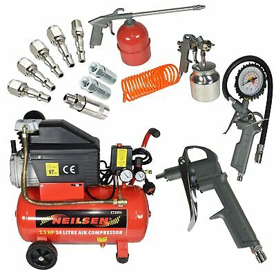 Air Compressor Tool 2.5HP 24L Tank Portable 5pc Accessory Tools Airline Fittin