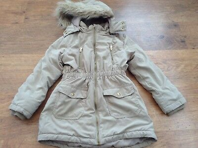 H+M Girls Autumn Winter Hooded Parka Style Coat 7-8Yrs