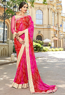 Indian Ethnic Party Wear Red Bhandhani  Bollywood Wedding Georgette Lappa Sari .