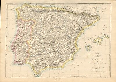 1863  Large Antique Map - Dispatch Atlas- Spain And Portugal