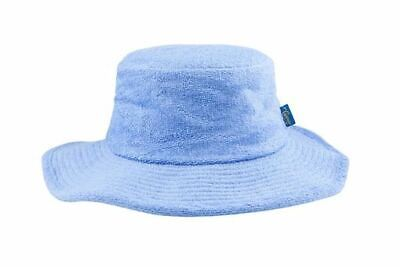 Terry Towelling Bucket Hat Wide Brim Sun Protection Cotton Camping Blue Quality