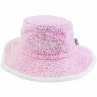 0a512e60 Terry Towelling Bucket Womens Sun Hat Beach Australian Fishing Camping Pale  Pink