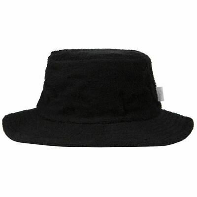 Terry Towelling Bucket Hat Narrow Brim Fishing Camping Surfing Black Sun Hat