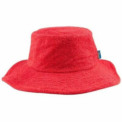 Terry Towelling Bucket Hat Wide Brim Sun Protection Camping Fishing Red