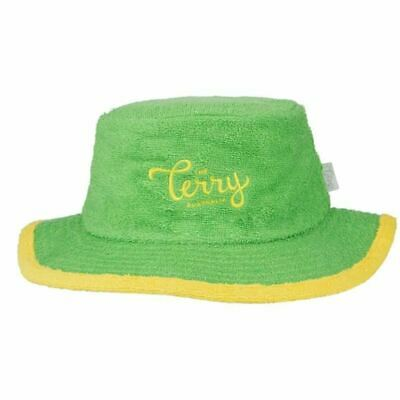 Bucket Hat Wide Brim Terry Towelling Sun Protection Aussie Cricket Green Gold