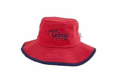 Bucket Hat Terry Towelling Wide Brim Sun Protection Cotton Red Camping Fishing