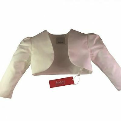 Girls Kids Childs White Satin Bolero Shrug Jacket Flower Girl Bridesmaid Wedding