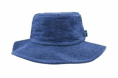 Terry Towelling Bucket Hat Wide Brim Sun Protection Camping Fishing NavyBlue