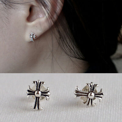 New Women Classic S925 Sterling Silver Retro The Cross Vintage Stud Earrings