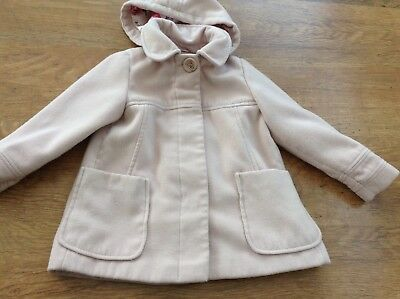 Next Girls Autumn Winter Pink Hooded Coat 4-5Yrs