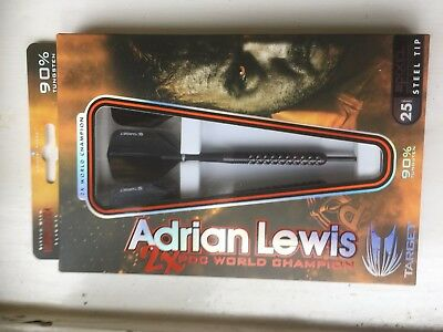 ADRIAN LEWIS BLACK PIXEL GRIP DARTS By Target Flights & Stems Pre-Owned