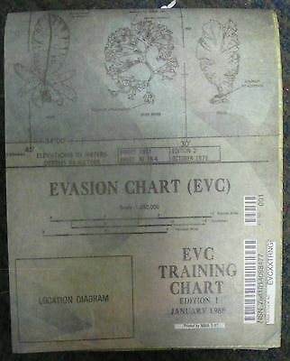 Large Us Military Survival Evasion Chart Map Evc Training 1988 United States