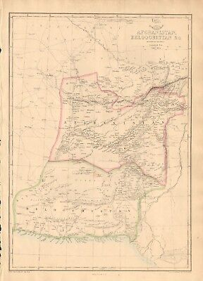 1863  Large Antique Map - Dispatch Atlas- Afghanistan, Beluchistan