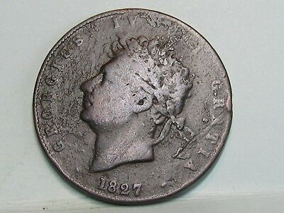 George Iv  Copper Halfpenny Coin Dated 1827