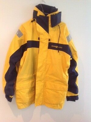 Men's Henri Lloyd Yellow and Blue Marine 'Inshore' - Medium Size Sailing Jacket