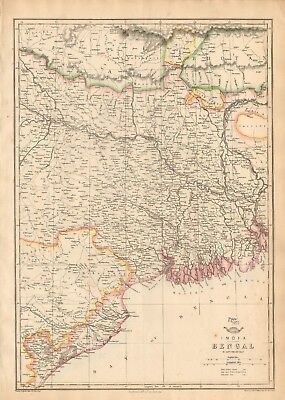 1863  Large Antique Map - Dispatch Atlas- India- Bengal