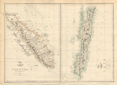 1863  Large Antique Map - Dispatch Atlas- Sumatra And Java