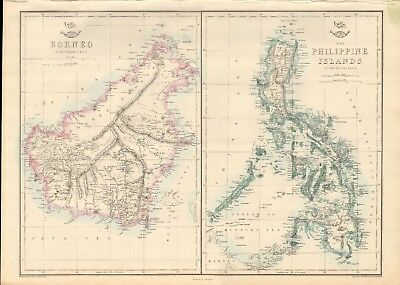 1863  Large Antique Map - Dispatch Atlas- Borneo And Philippine Islands